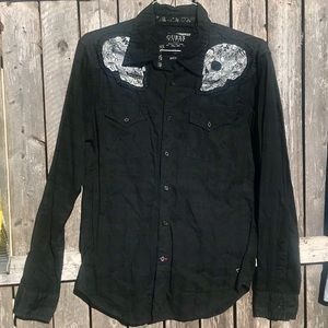 Guess vintage western skull button down shirt